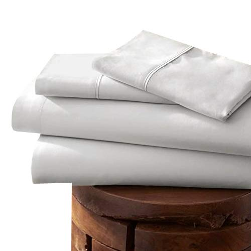 Linenwalas 100% Egyptian Cotton Twin XL Sheet Set Clearance, Extra Long Twin -3 Pc-800 Thread Count -Buy 2 Sheets any color, Get 6 Piece Embroidery Sky Cushion Cover Free (Twin XL,White)