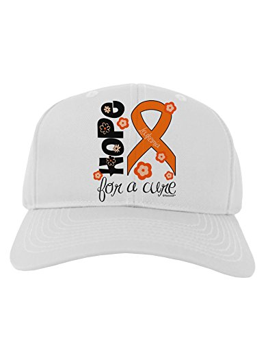 TooLoud Hope for a Cure - Orange Ribbon Leukemia - Flowers Adult Baseball Cap Hat - White