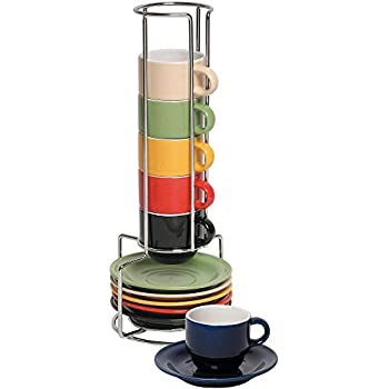 Stoneware Ceramic Espresso Cups Set - 13 Pc Colorful Stacking Espresso Cup and Saucer Set w/ Rack