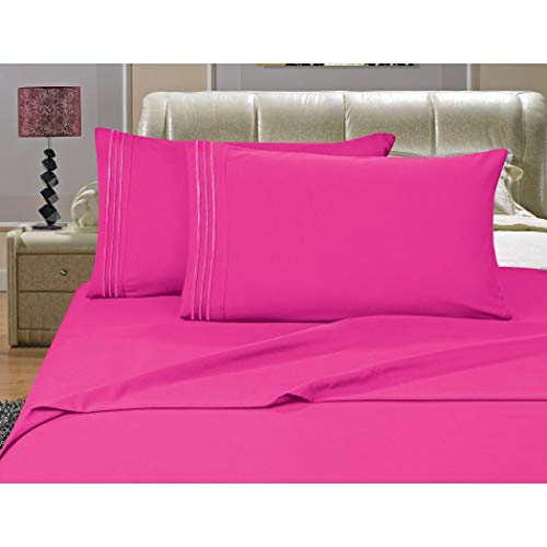 MISC 4pc Fuschia Pink Sheet Set Full Sized, Polyester, Microfiber, Deep Pocket Bedding Embroidered Stripe Comfortable Chic Elegant Solid Classic Breathable Soft Cozy Luxurious