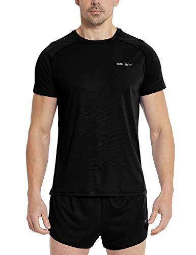 Baleaf Men's Quick Dry Short Sleeve T-Shirt Running Fitness Shirts Black Size M