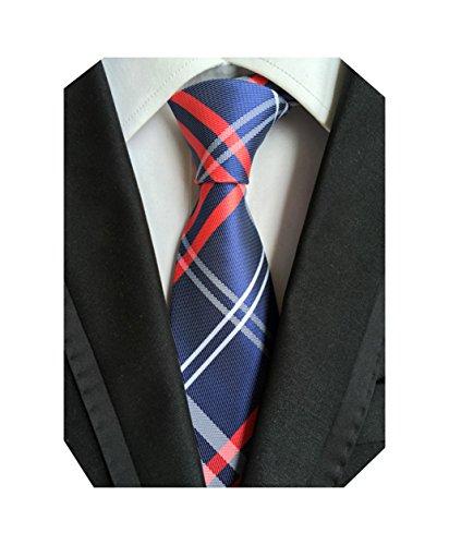La Cravate Lignes Fines Jacquard De Mariage En Soie Tissée Hommes Mindeng Bluered