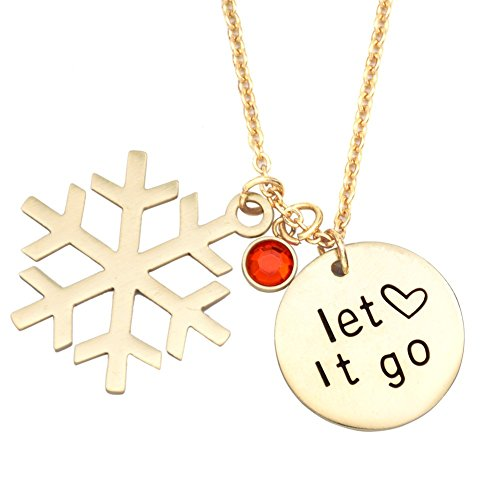 O.RIYA Let It Go Hand Stamped Necklace Pendant, Kid Little Girl Gift Ideas, Birthday Gift, Frozen Snowflake Necklace Jewelry, Children Gift, Inspirational Necklace, Gifts for her