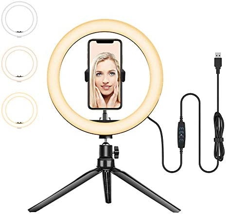 Ring Light with Tripod Stand - Dimmable Selfie Ring Light LED Lighting Circle with Tripod and Phone Holder for Live Stream/Makeup/YouTube Video, Compatible for iPhone Android Remote Shutter