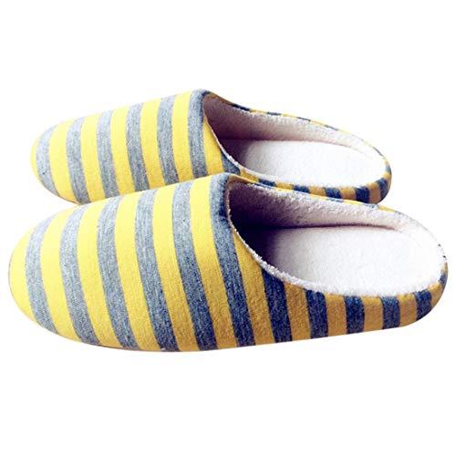 intérieure SeniorMar Peluche Femmes Tissu la Chaussures en Hommes Pantoufles en Peluche Hiver Pantoufles Anti dérapant Maison à en Amants Doux Universel Couple rayé I4rqxwIf
