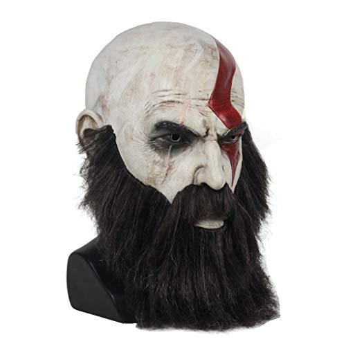 God Of War Costumes For Halloween (JGBHPNYX God of War Mask Kratos Latex Mask Wig Beard Halloween)