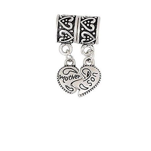 1 Pair Mother Son Heart Love Charm For Snake Chain Charm (Small Charm Chain Bracelet)