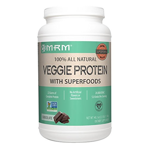 MRM - Veggie Protein Powder, Protein Source for Vegans, Gluten-Free & Preservative-Free, Non-GMO Verified(Chocolate, 2.5 lbs)