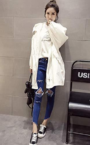 Jacket Lightweight Zip Up Parka Rain XINHEO Anorak White Tunic Fall Women's qgaYT