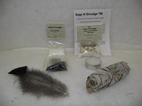 Sage Smudge House Blessing Cleansing and Purification Kit for Home with White Sage Smudge Stick Candle Feather Dead Sea Salt Banishing Salt and Gourmet Purification Bath Salts