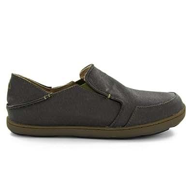OluKai Nohea Canvas Shoe - Men's Black Olive/Dark Olive 7