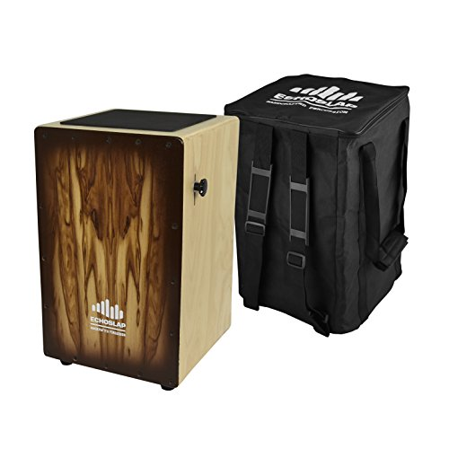 Echoslap Siam Oak Adjustable Snare Hand Crafted Cajon Siam Oak Body, Attractive Sandalwood Frontplate