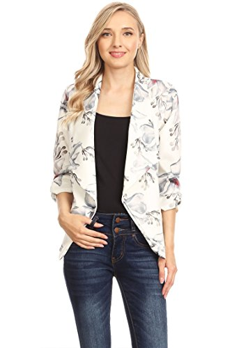 Women's Solid & Printed Open Blazer Cardigan Jacket/Made in USA