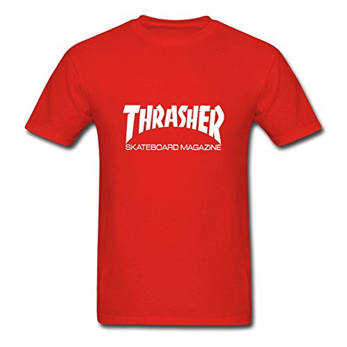 Fowe Men's Short Sleeve O Neck Thrasher Skateboard Cotton T Shirts XXX Large Red