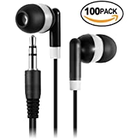 Keewonda Wholesale Bulk Earbuds Headphones - 100 Pack Kids Earbuds Student Classroom Headphones Childrens Ear Buds for Boys Teens Girls - Black/White