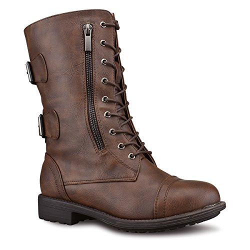 Top Moda Women's Pack-72 Lace Up Combat Boot, TPS Pack-72 v2 Brown Size - Costume Croft Lara