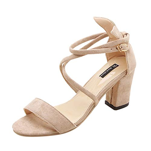 TOTOD Sandals for Women, Ladies Fashion Simple Single Shoes Peep Toe Flock Square Heel Cross Strap Sandals Beige