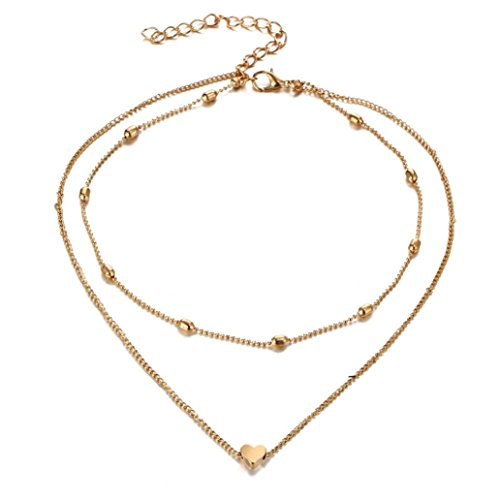 Heart Medallion Necklace (NEW Women Multilayer Love Heart Pendant Necklace Chain Jewelry by TOPUNDER)