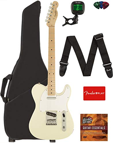 - Fender Squier Affinity Series Telecaster Guitar - Maple Fingerboard, Arctic White Bundle with Gig Bag, Tuner, Strap, Picks, and Austin Bazaar Instructional DVD