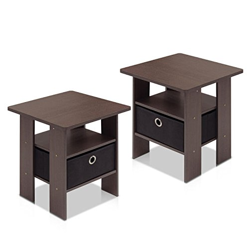 Furinno End Table Bedroom Night Stand w/Bin Drawer
