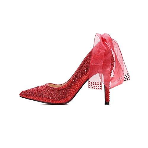 ALUK- Damenschuhe - Hochzeit Braut Strass Spitze roten Kristall Schuhe Stöckelschuhe ( Farbe : With high 11cm , größe : 35-Shoes long225mm ) With High 9cm