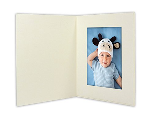 Golden State Art, ANGEL PRINT Cardboard Photo Folder For a 4x6 Photo (Pack of 50) GS007 Ivory Color by Golden State Art