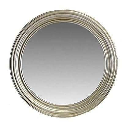 Amazon.com: Entrada en27123 Ronda espejo de pared de madera ...