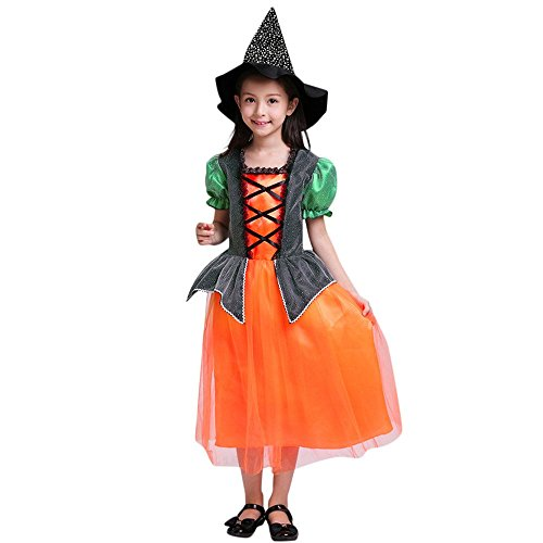 Birdfly 3-10T Kid Girl Halloween Witch Costumes Magic Hat + Fairy Tale Style Dress + Hand Bag Outfit (10T, Orange) (Magic Set Pocus Hocus)