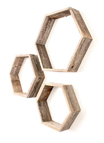 BarnwoodUSA Rustic Wood Hexagon Shelves (Set of 3) - 100 Percent Reclaimed Wood, Weathered (Hexagon Hanging)