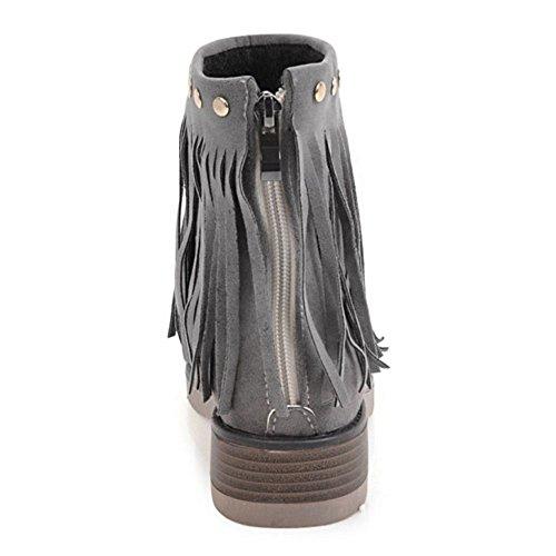RAZAMAZA Women Classic Boots Zipper Gray XtclO1