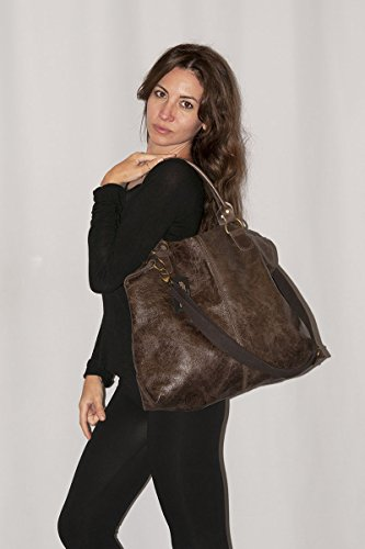 BORDERLINE - 100% Made in Italy - Damen Leder Tasche - Vintage Style - LISA - Blu Jeans