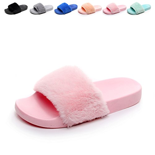 Women's Flip Flop Faux Fuzzy Fur Slide Slip On Flat Sandal Shoe Slipper Light Pink 7.5-8 B(M) (Light Pink Slides)