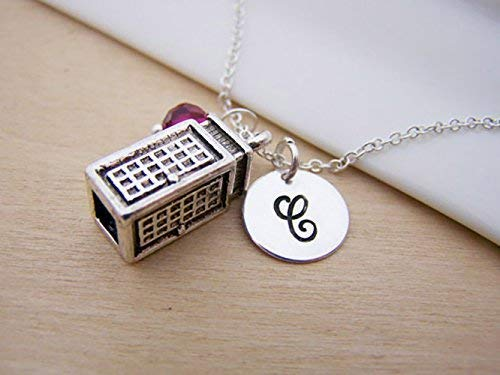 Phone Booth Charm Necklace Initial Necklace