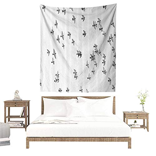(alisoso Wall Tapestries Hippie,Lifestyle,Group of Pigeon Gulls Birds Dove Flying on Sky Urban Scenic Move On Photo Print,Grey White W51 x L60 inch Tapestry Wallpaper Home Decor)