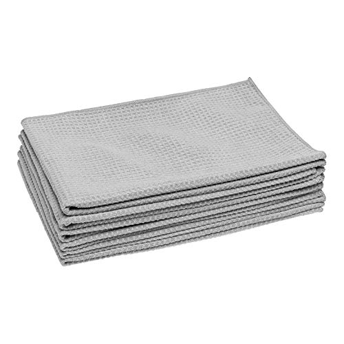 - Microfiber Waffle Weave Kitchen Towels | Absorbent Drying Towels for Kitchen, Counters, Dishes, Glass, Hands | Streak-Free | Gray - Large (16 x 24) 6 Pack