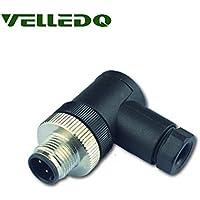 VELLEDQ Industrial Field-wireable M12 Sensor Connector 4-Pin Male Adaptor Screw Terminal Plug Fittings