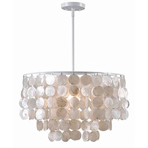 Kenroy Home 93409WH Shelley 1 Light Pendant (Capiz Light Pendant)