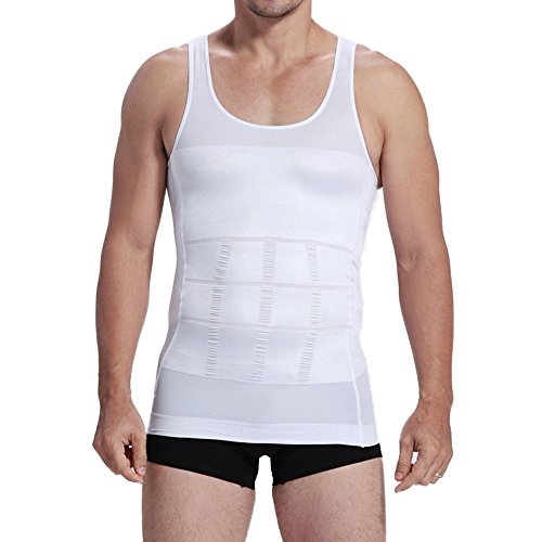 [New Mens Body Shaper Tummy Belly Waist Slimmer Slimming Undershirt Girdle M~XXL (White, XXL)] (Diy Incredibles Costume)