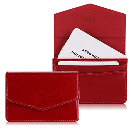 (WWW Genuine Leather Business Card Holder Business Card Case with Magnetic Shut for Men & Women, Holds 30 Business Cards Wine Red)