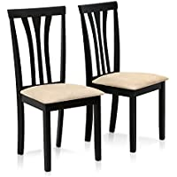 FURINNO Franklin 2 Piece Solid Wood Dining Chairs, Espresso