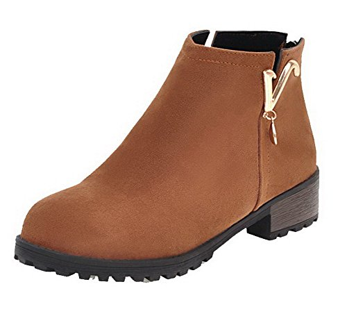 Zipper Suede Heels Top Closed Round Brown Boots Low AgeeMi Women Low Toe Solid Shoes PIqwF1vZ