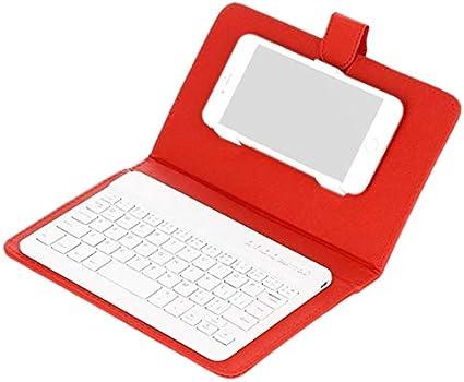 SODIAL Teclado Inalámbrico Bluetooth para Teléfono Móvil con Funda De Cuero PU Mini Inalámbrico Portátil Aluminio Ordenador Portátil Funda De Cuero - Rojo