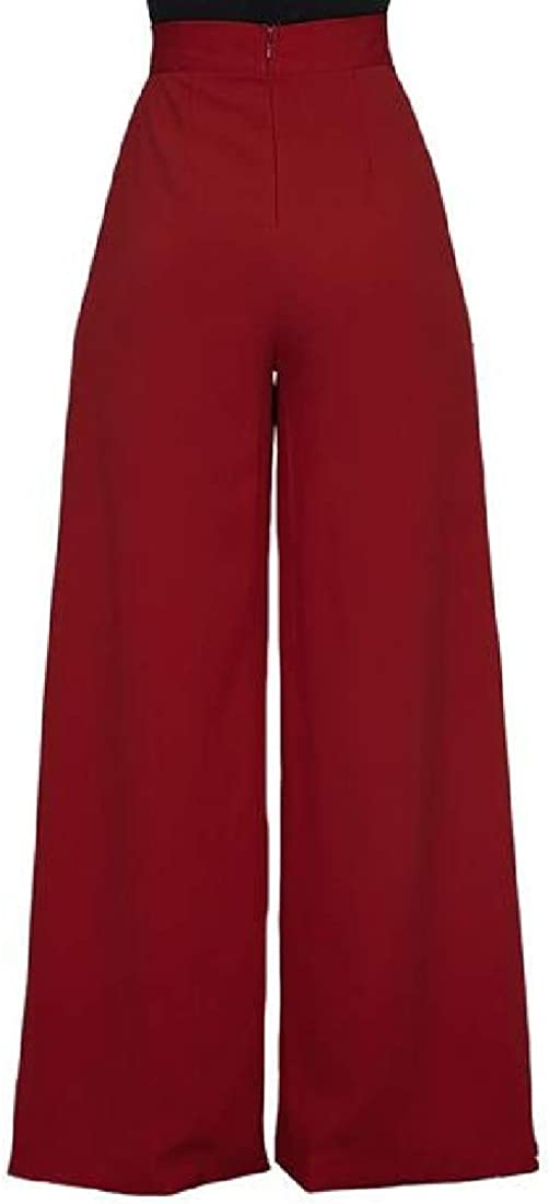 Cromoncent-CA Womens High Waist Wide Leg Solid Casual Palazzo Pants
