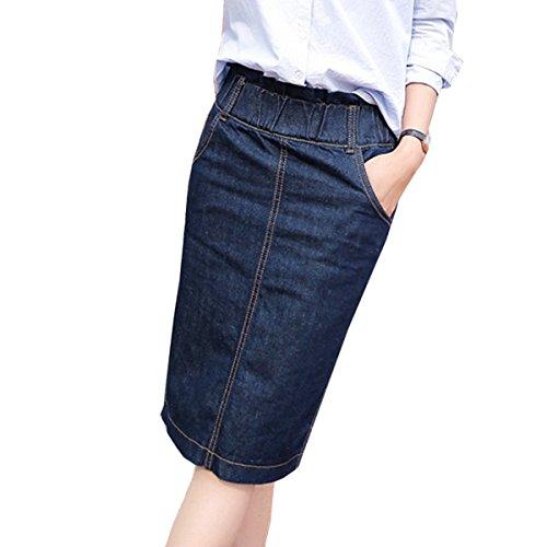 Nouvelle lastique Longue En Bleu Jupe Jean Taille Jupe Jupe Blue Printemps Fonc Taille Grande fdx4nftzq