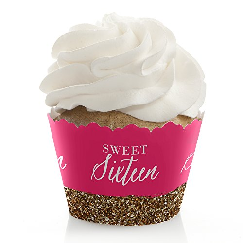 (Chic 16th Birthday - Pink and Gold - Birthday Party Decorations - Party Cupcake Wrappers - Set of 12)
