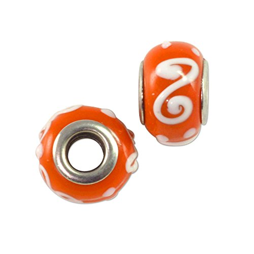- Large Hole Glass Bead 9x13mm Burnt Orange with White Swirls & Dots (1-Piece)