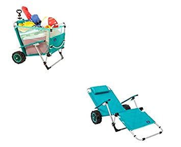 Mac Sports 2-in-1 Beach Folding Lounge Chair Cargo Cart for Tanning Outdoors Sunbathing Sun Chair, Tanning Chair, Portable, Lightweight, Lounger for Patio, Collapsible with All-Terrain Wheels Teal
