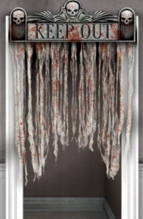 Amscan Haunted Asylum Halloween Chop Shop Bloody Doorway Curtain Decoration (1 Piece), Multicolor, 54