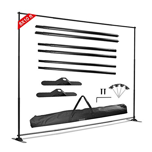 GUOHONG 8'x10' Professional Strengthened Backdrop Banner Stand Multifunctional Adjustable Telescopic Photo Booth Banner and Reuse for Trade Show and Display Booth Exhibitor Background