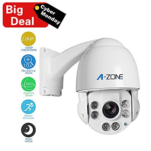 A-ZONE PTZ Security Camera 1080P HD IP Mini PTZ Dome Camera 10X Optical Zoom Medium Speed Security Camera 2.0 Megapixel Night Vision up to 150ft